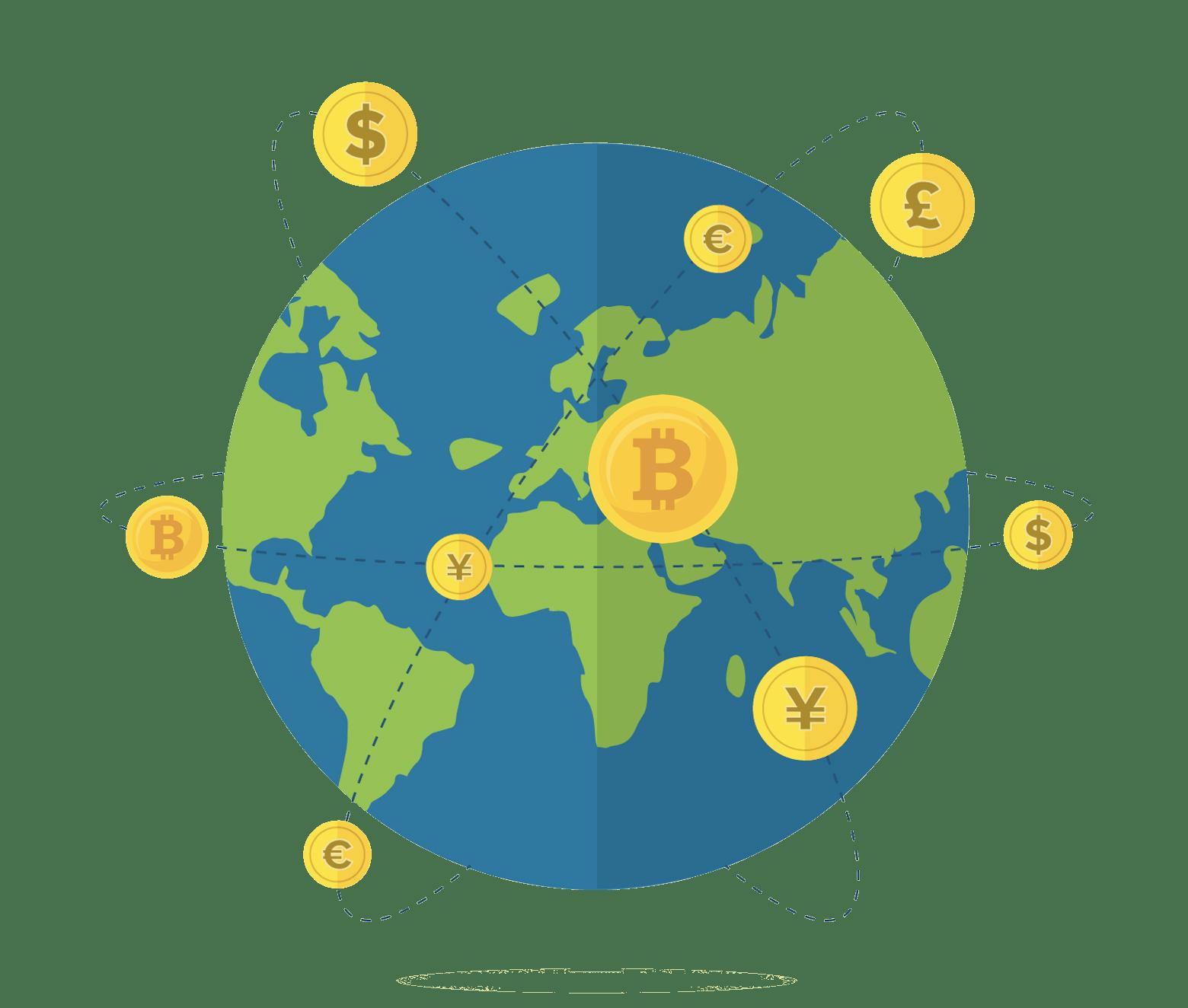 Bitcoin handel jorden runt