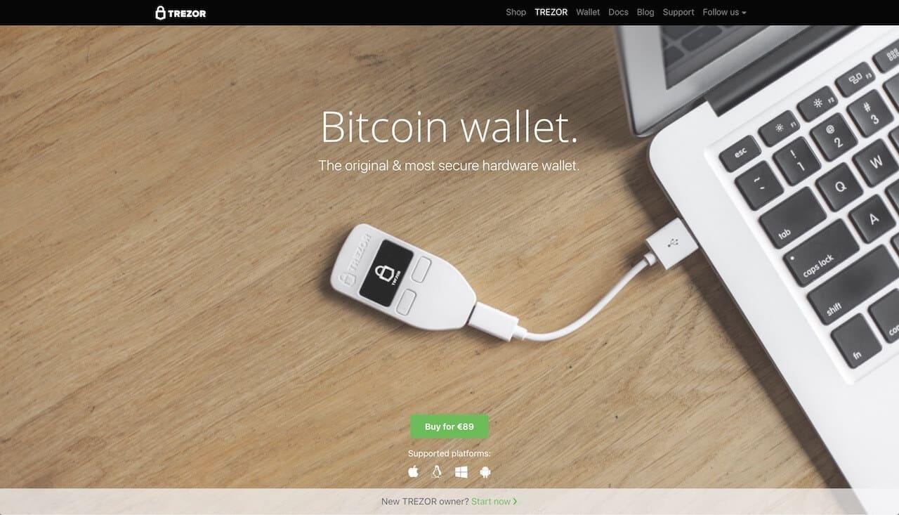 Trezor home page