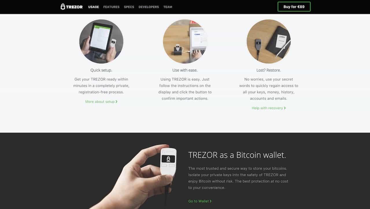 Trezor Wallet setup