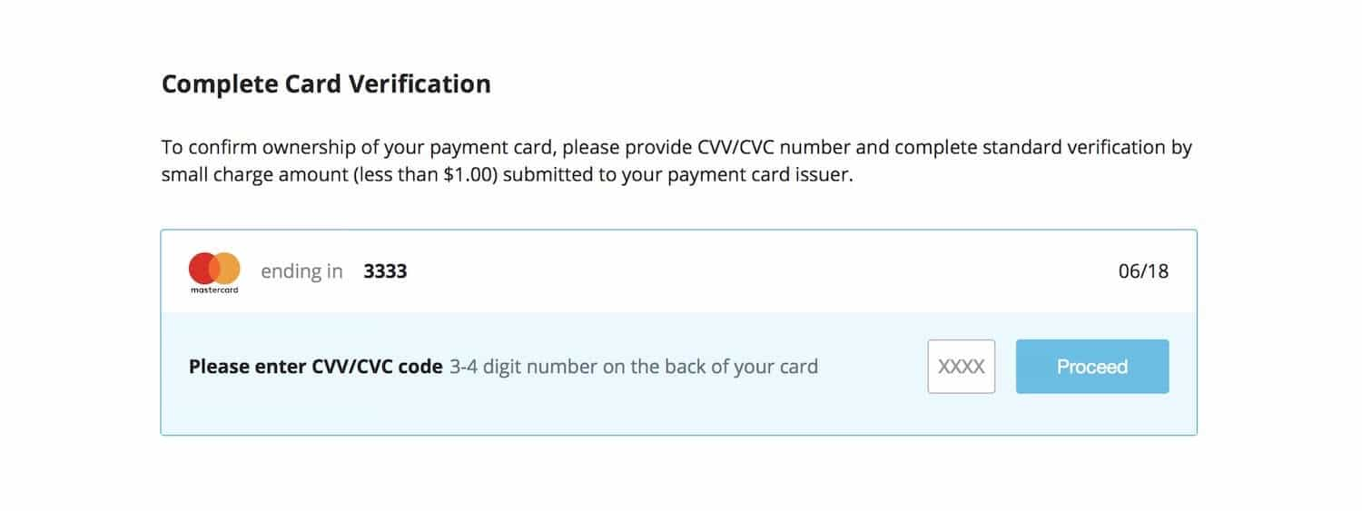 CEX.io card verification