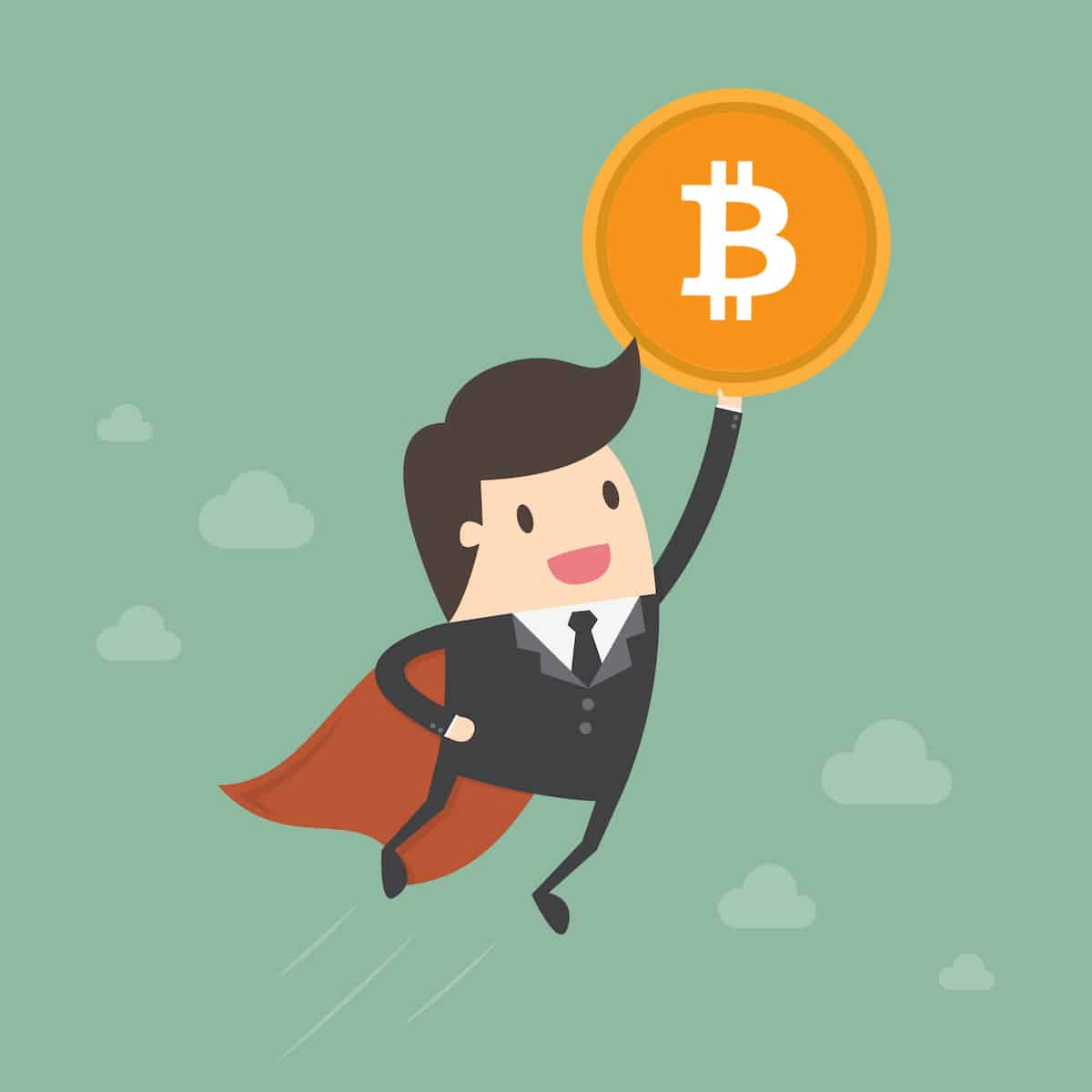 Flying Bitcoin man