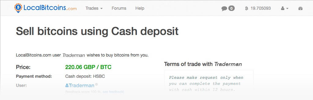 Localbitcoins send trade request