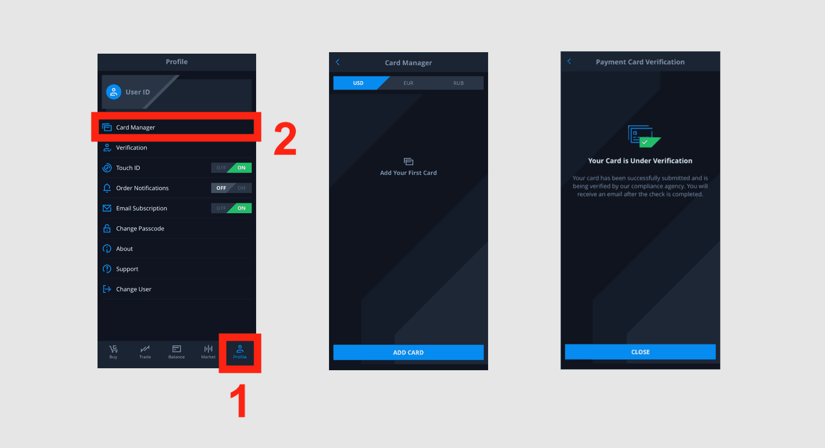 cex.io app add payment card