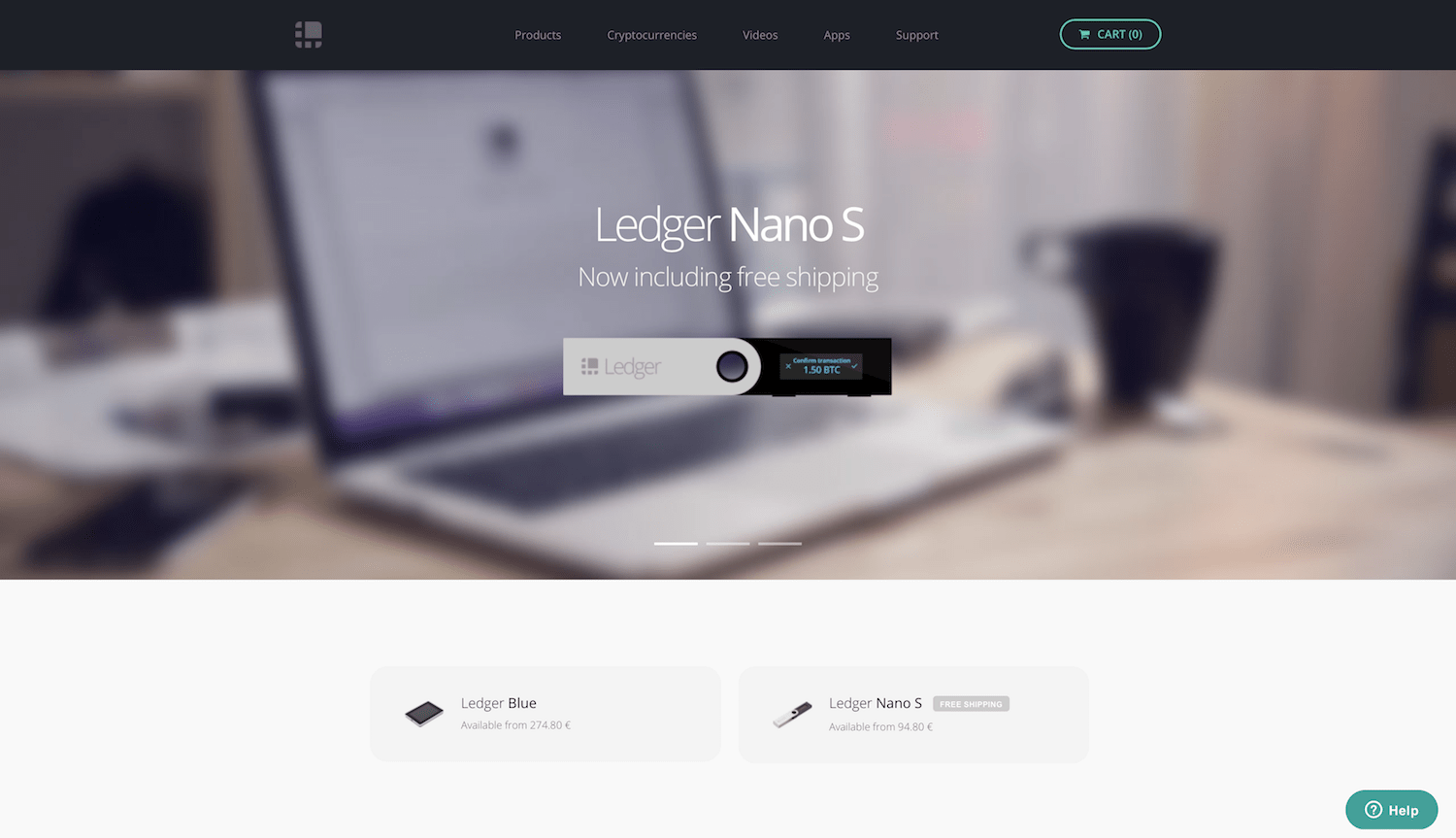 Ledger homepage screenshot