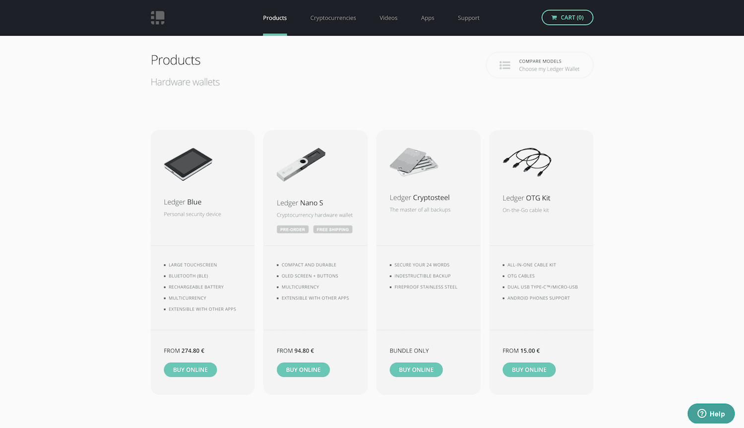 Ledger products screenshot